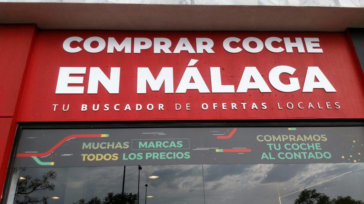 Fachada de Comprar Coche en Málaga, el nuevo buscador de vehículos en la Costa del Sol.